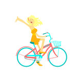 Happy Girl Riding Bicycle Royalty Free Stock Photo