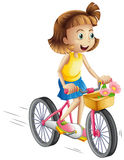 A happy girl riding a bike. Illustration of a happy girl riding a bike on a white background Stock Images