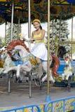 Happy girl riding a horse Royalty Free Stock Photos