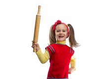 Happy girl with rolling-pin Royalty Free Stock Images