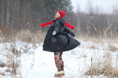 happy girl run in winter  forest Royalty Free Stock Photos