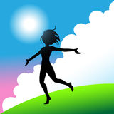 Happy girl running. A girl jumping and running around with joy Stock Images