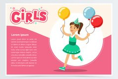 Happy girl running with clolrful balloons, cute kid celebrating her birthday, girls banner flat vector element for. Website or mobile app with sample text Royalty Free Stock Image