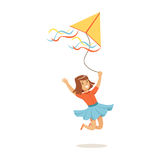 Happy girl running with her flying kite, kids outdoor activity colorful character vector Illustration Stock Image