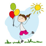 Happy girl running and holding colorful balloons. In her hand  - original hand drawn illustration Royalty Free Stock Image