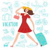 Happy girl running with suitcase. Lovely girl running with suitcase. Including doodle drawings: airplane, ship; suitcase, food and different beach stuff. Summer Stock Photos