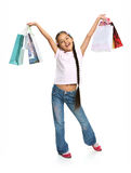 Happy girl's shopping! Stock Images