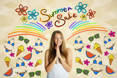 Happy girl with sale sketch. Happy european girl on yellow polygonal background with drawn rainbow and pattern. Summer sale concept Royalty Free Stock Image
