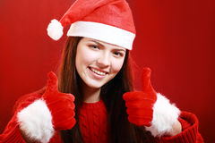 Happy girl in santa cloth Stock Photos