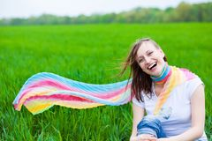 Happy Girl in a scarf Royalty Free Stock Image