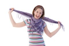 Happy girl in scarf and t-shirt stock images