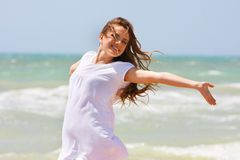 happy girl on sea background Stock Photography