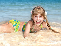 Happy girl at sea beach. Stock Photography