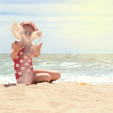Happy girl at sea beach stock photography