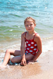 Happy girl at sea beach Royalty Free Stock Image