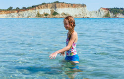 Happy girl in sea Royalty Free Stock Image