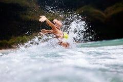 Happy girl sea waves splash. Happy girl bikini sea waves splash Royalty Free Stock Photos