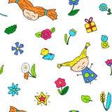 Happy girl seamless pattern. Girl birthday. Happy girl doodle characters seamless pattern. Girl birthday wrapping paper. Joyful girl, bird and flower on white Stock Photos