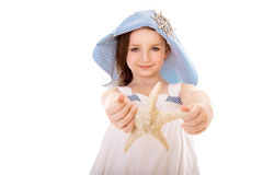 Happy girl with seashell Royalty Free Stock Photography