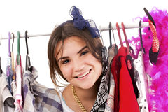 Happy girl in a shop buying clothes Stock Photo