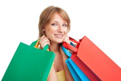 Happy girl after shopping Stock Photos