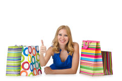 Happy girl after  shopping Royalty Free Stock Image