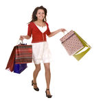 Happy girl with shopping bag. Isolated Stock Images