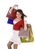 Happy girl with shopping bag. Happy  girl with group shopping bag. Isolated Royalty Free Stock Photos
