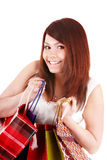Happy girl with shopping bag. Royalty Free Stock Photos