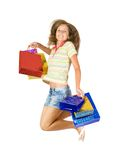 Happy girl with shopping bags Stock Photos