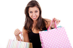 Happy girl with shopping bags Royalty Free Stock Images