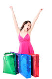 Happy girl with shopping bags Royalty Free Stock Image