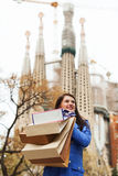 Happy girl with shopping bags in Barcelona Royalty Free Stock Image