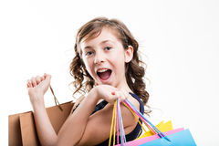 Happy girl with shopping bags Stock Images