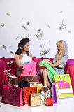 Happy girl with shopping and money Royalty Free Stock Image