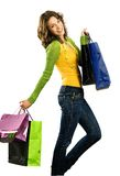 Happy girl with shoppingbag Stock Photos