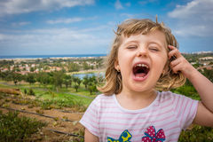 Happy girl shouting Royalty Free Stock Photos