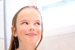 Happy girl in shower Royalty Free Stock Photography
