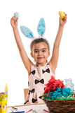 Happy girl showing easter eggs Royalty Free Stock Photography