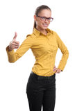 Happy girl showing thumb up symbol Royalty Free Stock Photos