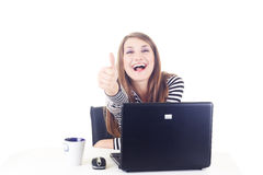 Happy girl showing thump up Stock Image