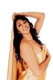 Happy girl in silk. Stock Image