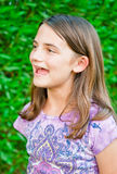 Happy Girl Singing. A happy girl singing or screaming outdoors royalty free stock photo