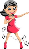Happy Girl Singing with Microphone Royalty Free Stock Photo