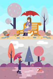 Happy girl sit bench watch birds dog puddles umbrella autumn spring nature park concept flat design landscape background Royalty Free Stock Photography
