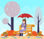 Happy girl sit bench watch birds puddles umbrella Royalty Free Stock Photo