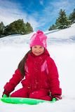 Happy girl sitting on sled on the sled in forest Stock Photography