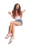 Happy Girl Sitting On A Top Of Banner Royalty Free Stock Images