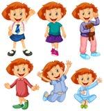 Happy girl in six costumes. Illustration royalty free illustration