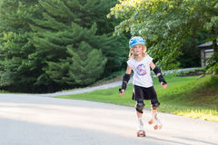 Happy Girl on Skates with Copy Space Stock Photography